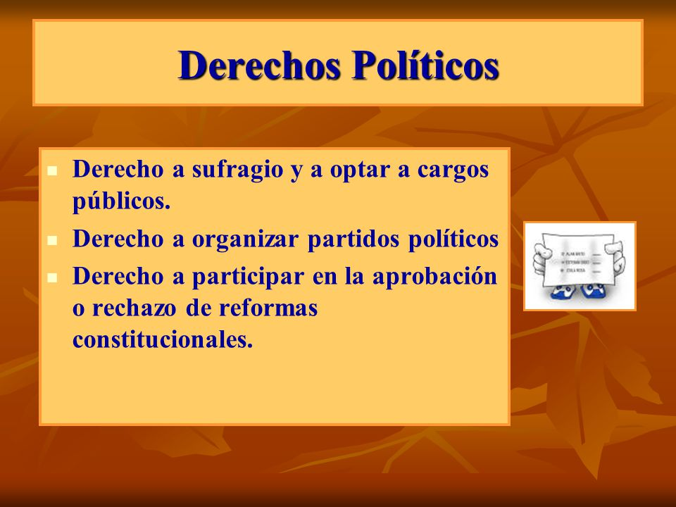 Derechos Políticos Derecho a sufragio y a optar a cargos públicos.