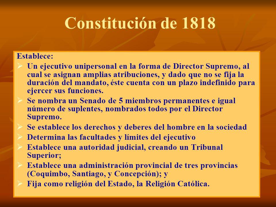 Constitución de 1818 Establece: