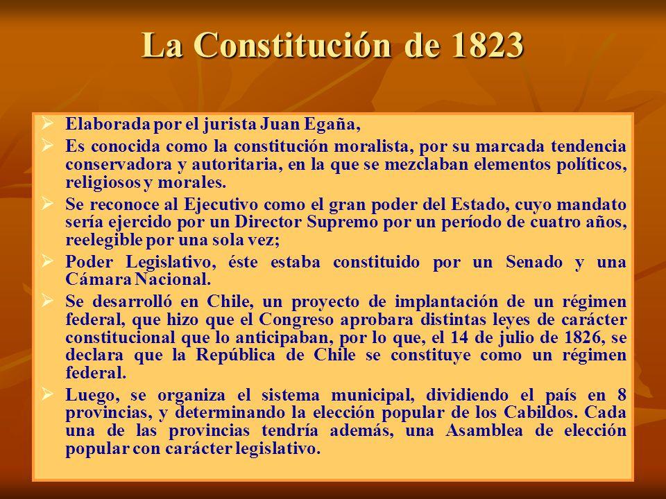 La Constitución de 1823 Elaborada por el jurista Juan Egaña,