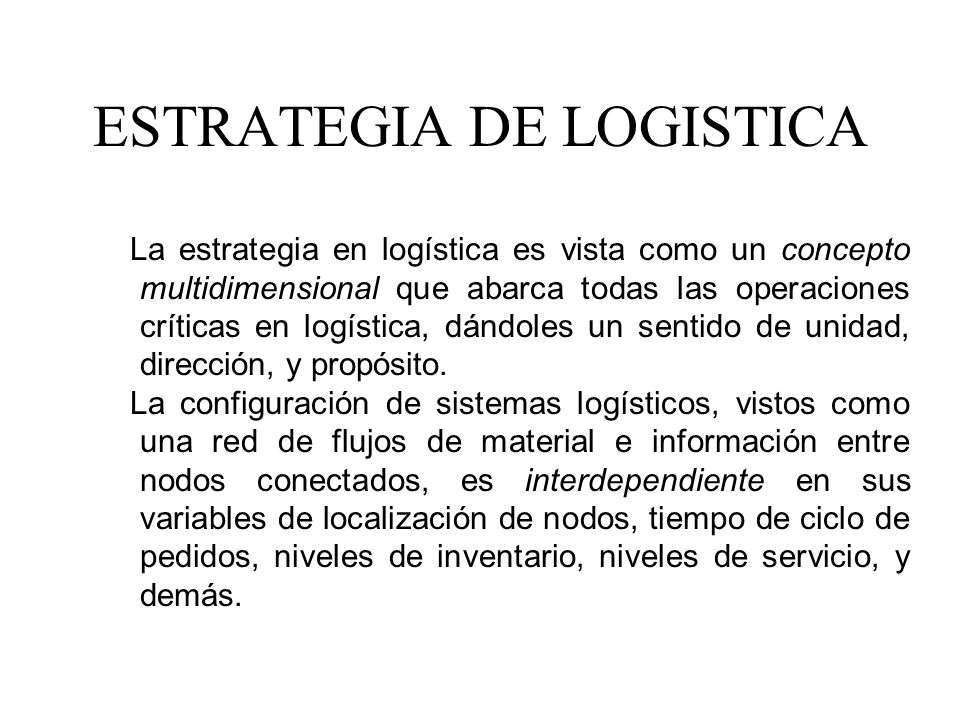 ESTRATEGIA DE LOGISTICA