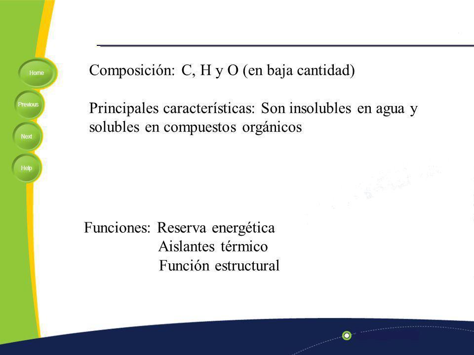 Composición: C, H y O (en baja cantidad)