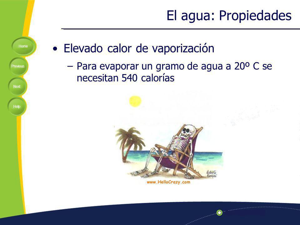 El agua: Propiedades Elevado calor de vaporización