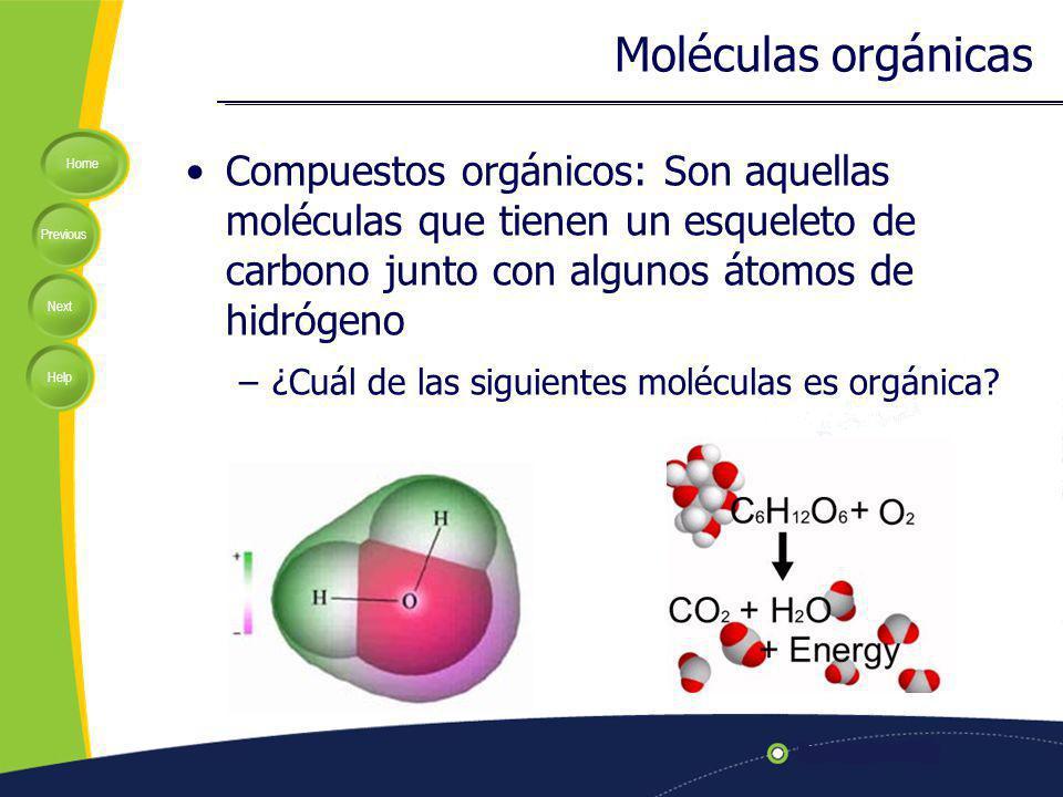 Moléculas orgánicas Compuestos orgánicos: Son aquellas moléculas que tienen un esqueleto de carbono junto con algunos átomos de hidrógeno.