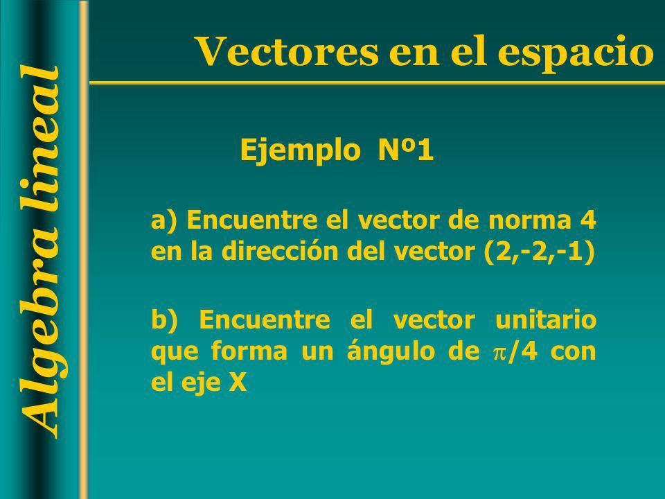 Ejemplo Nº1 a) Encuentre el vector de norma 4 en la dirección del vector (2,-2,-1)