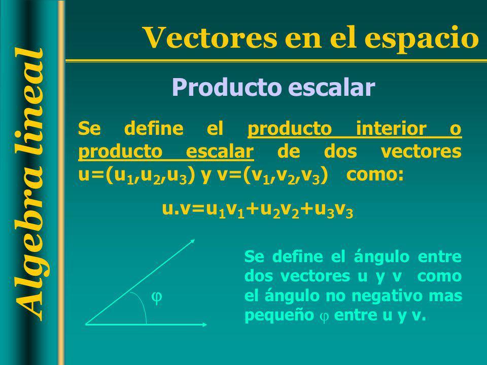 Producto escalar Se define el producto interior o producto escalar de dos vectores u=(u1,u2,u3) y v=(v1,v2,v3) como: