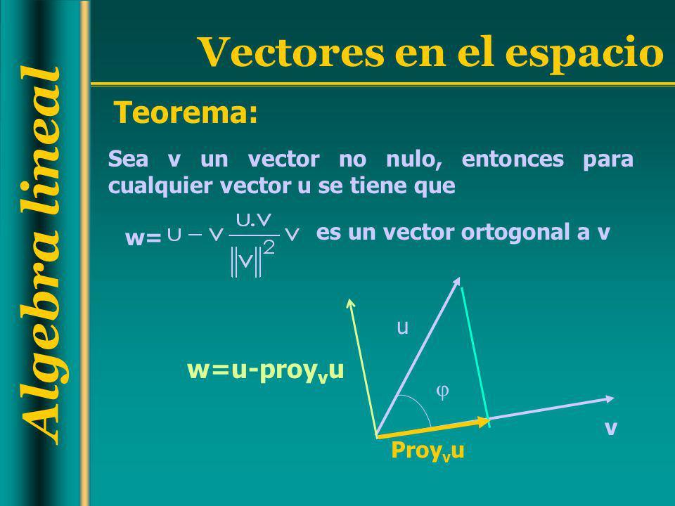 Teorema: Sea v un vector no nulo, entonces para cualquier vector u se tiene que. es un vector ortogonal a v.