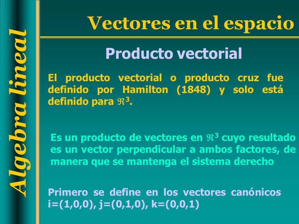 Producto vectorial El producto vectorial o producto cruz fue definido por Hamilton (1848) y solo está definido para 3.