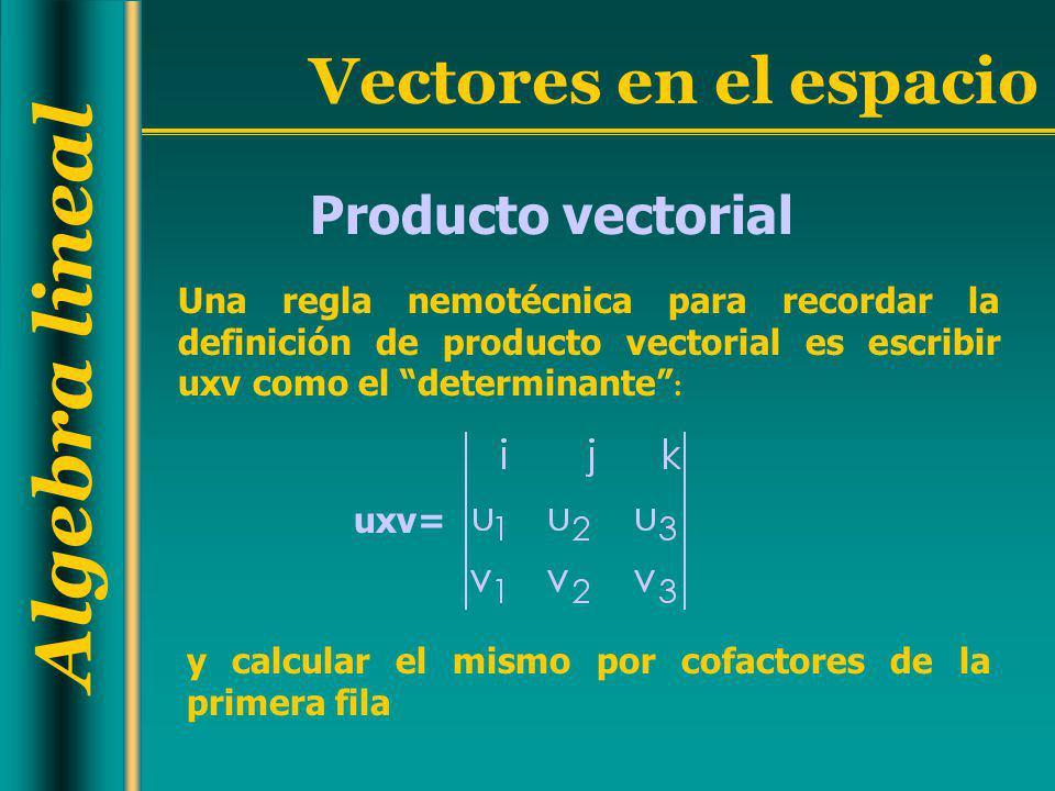 Producto vectorial Una regla nemotécnica para recordar la definición de producto vectorial es escribir uxv como el determinante :