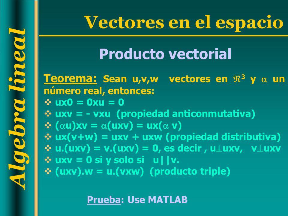 Producto vectorial Teorema: Sean u,v,w vectores en 3 y  un número real, entonces: ux0 = 0xu = 0.