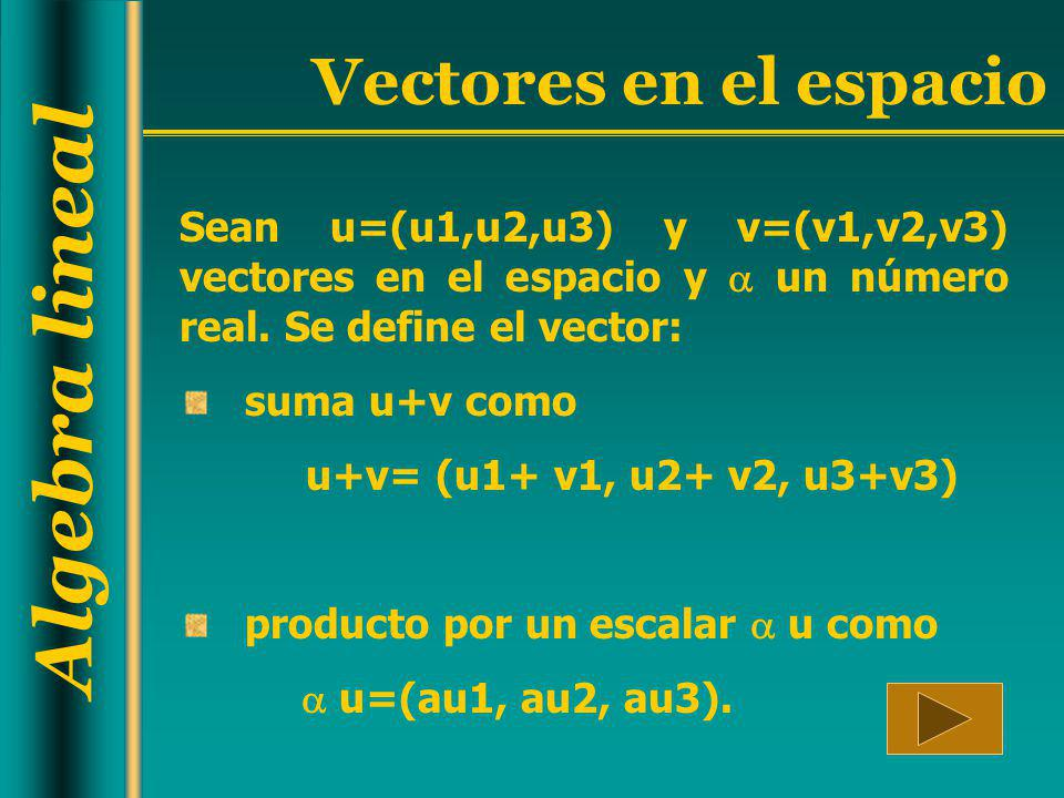 Sean u=(u1,u2,u3) y v=(v1,v2,v3) vectores en el espacio y  un número real. Se define el vector: