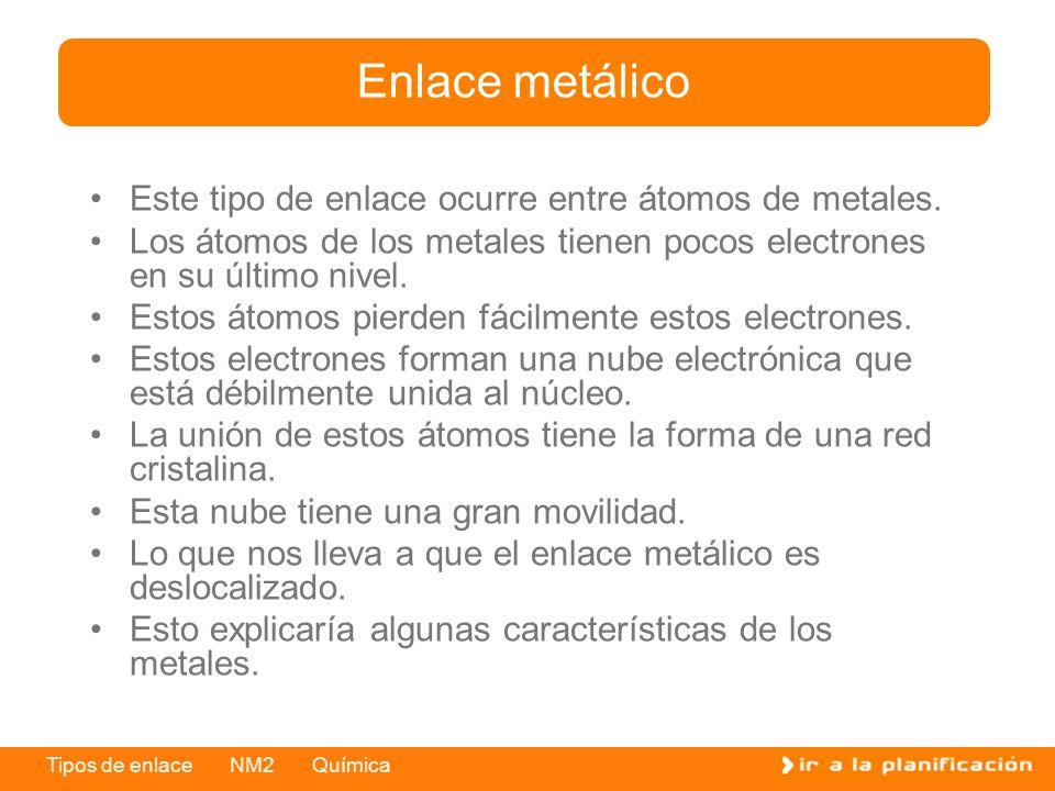 Enlace metálico Este tipo de enlace ocurre entre átomos de metales.