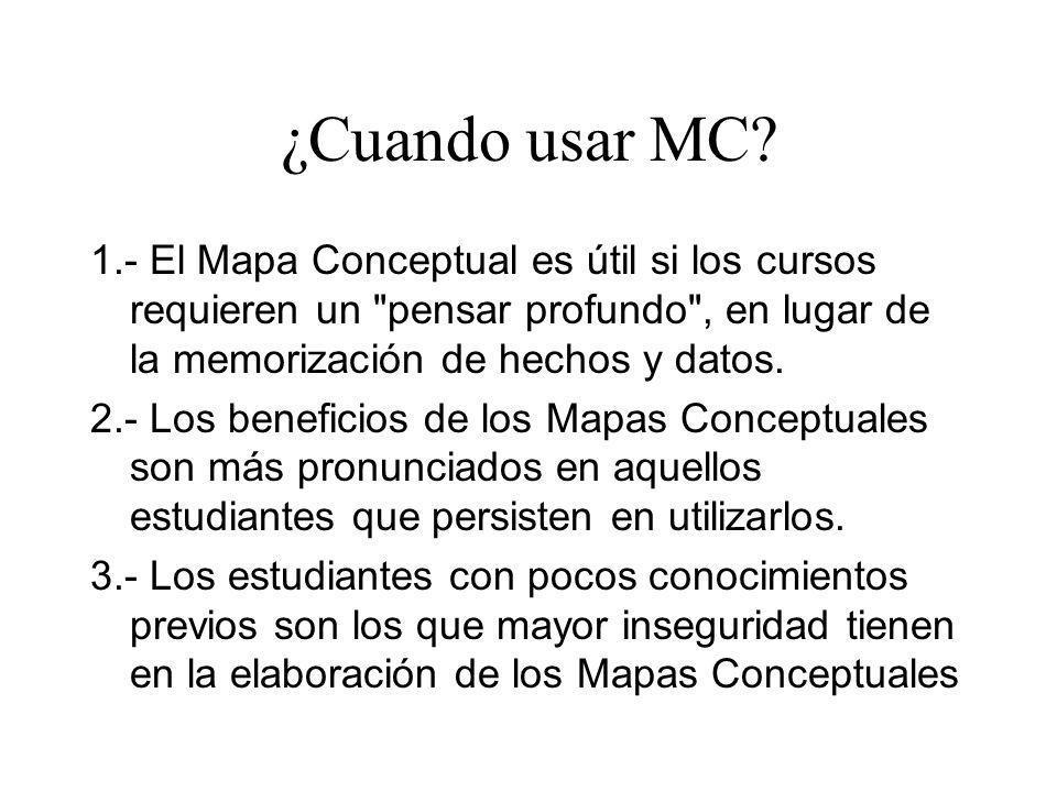 ¿Cuando usar MC 1.- El Mapa Conceptual es útil si los cursos requieren un pensar profundo , en lugar de la memorización de hechos y datos.