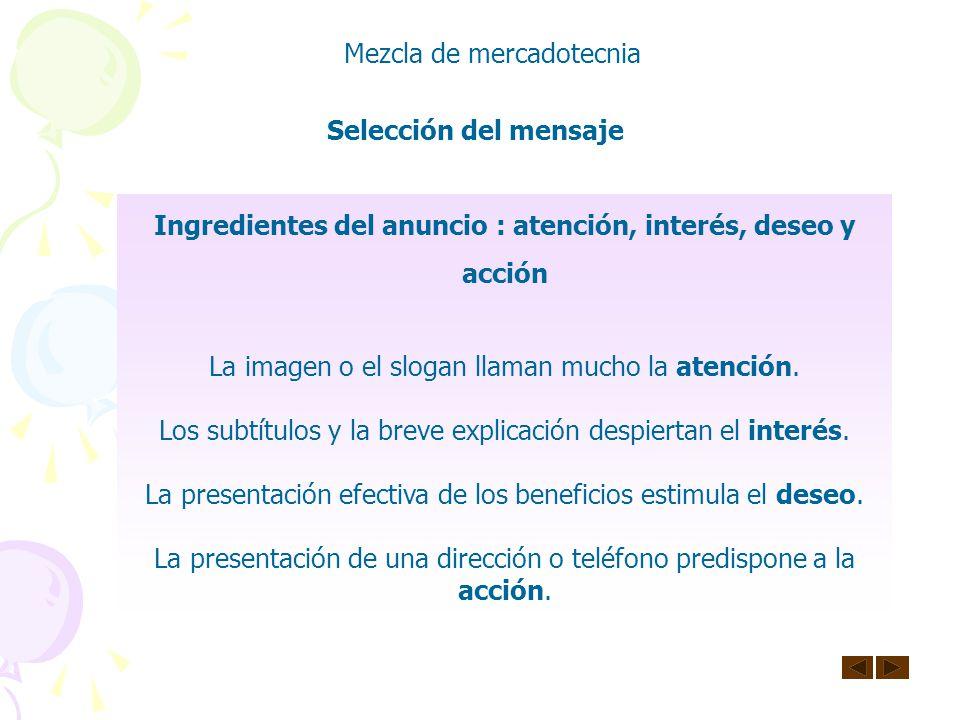 Ingredientes del anuncio : atención, interés, deseo y acción