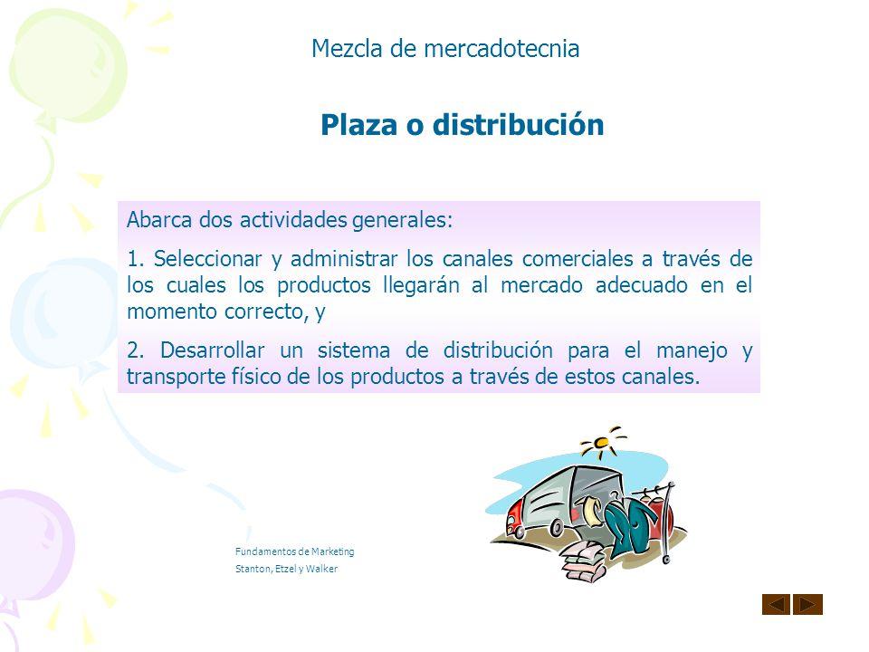 Plaza o distribución Mezcla de mercadotecnia