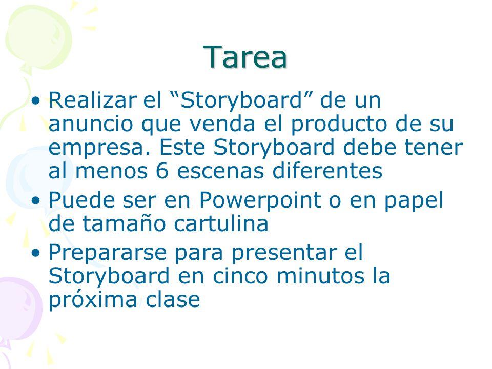 Tarea Realizar el Storyboard de un anuncio que venda el producto de su empresa. Este Storyboard debe tener al menos 6 escenas diferentes.