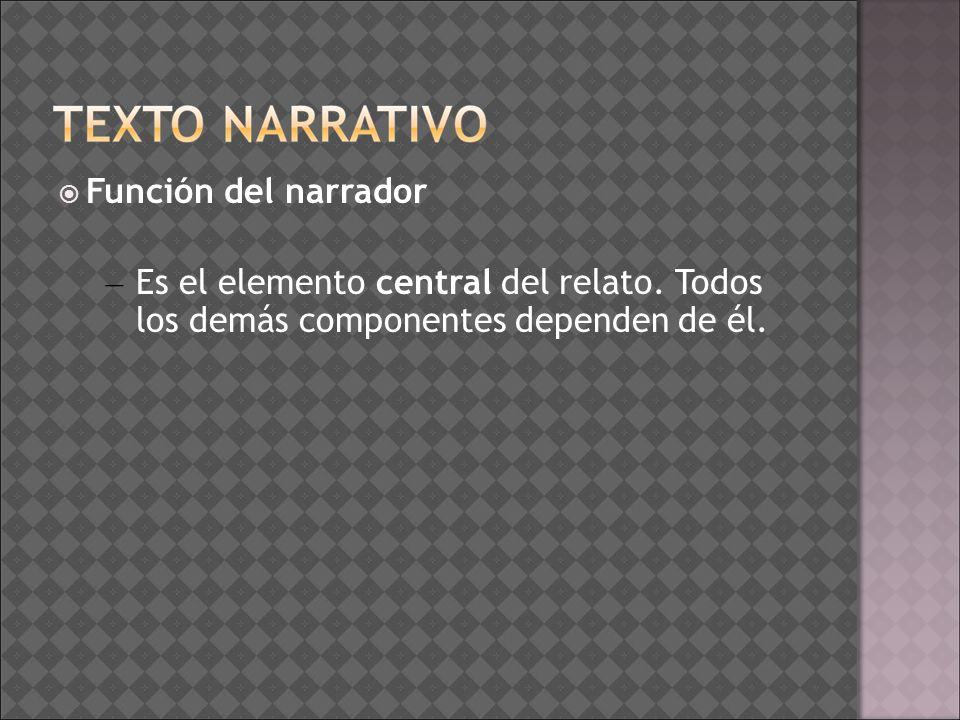 Función del narrador Es el elemento central del relato.