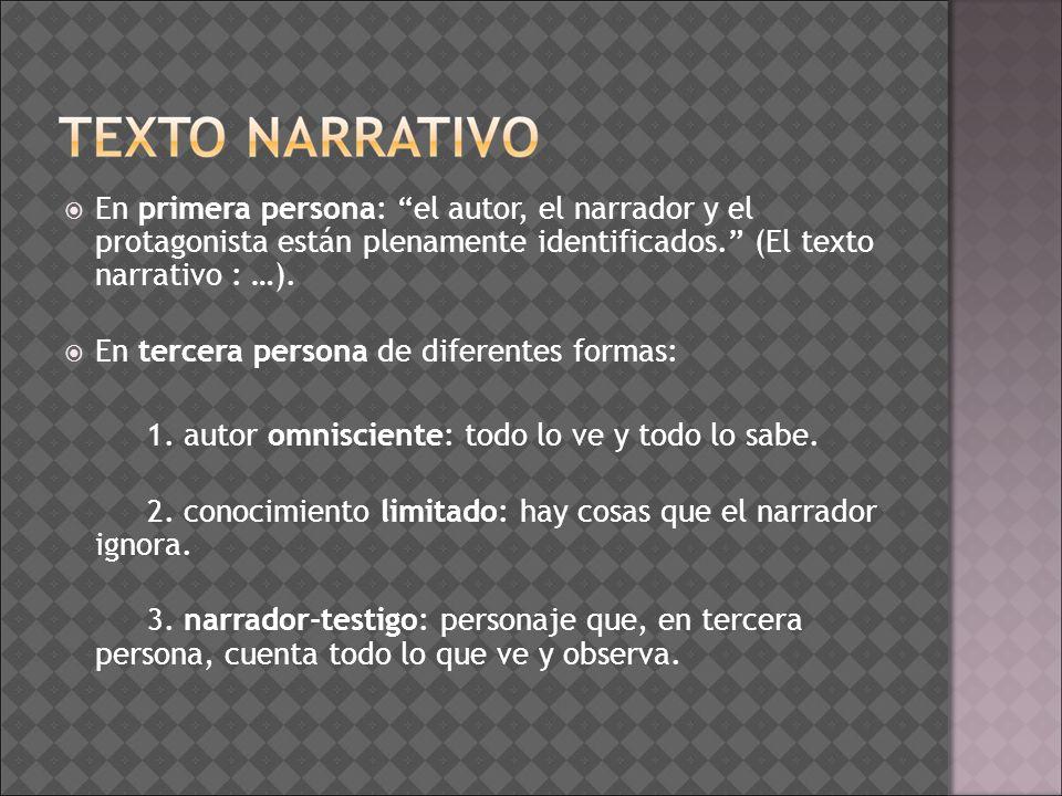 En primera persona: el autor, el narrador y el protagonista están plenamente identificados. (El texto narrativo : …).