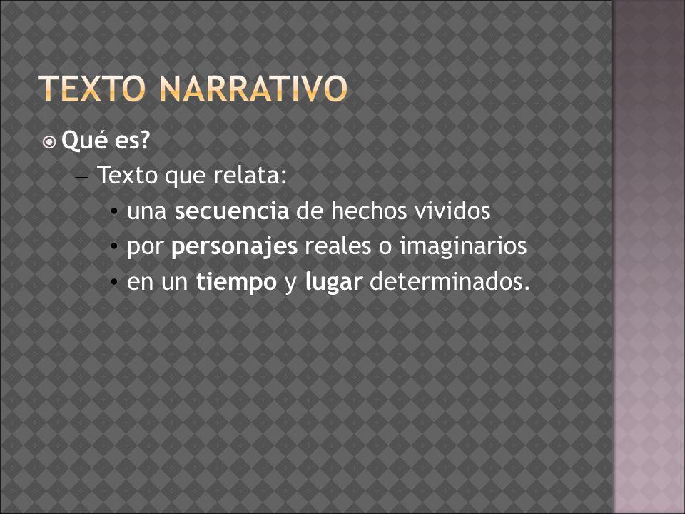 Qué es Texto que relata: una secuencia de hechos vividos. por personajes reales o imaginarios. en un tiempo y lugar determinados.