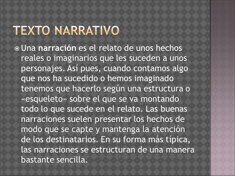 Una narración es el relato de unos hechos reales o imaginarios que les suceden a unos personajes.