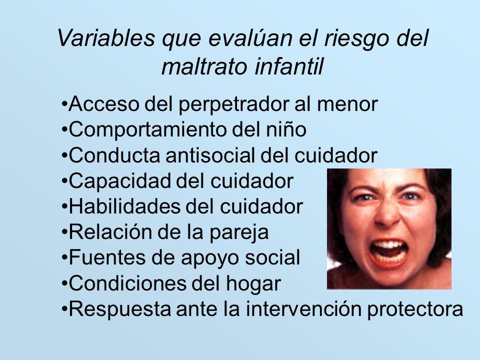 Variables que evalúan el riesgo del maltrato infantil
