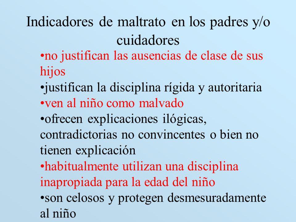 Indicadores de maltrato en los padres y/o cuidadores