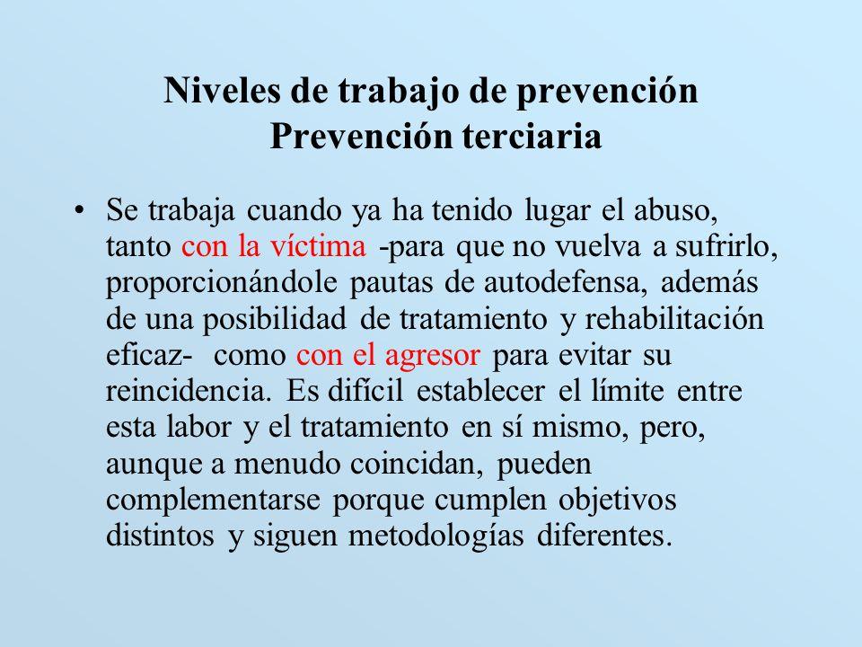 Niveles de trabajo de prevención Prevención terciaria