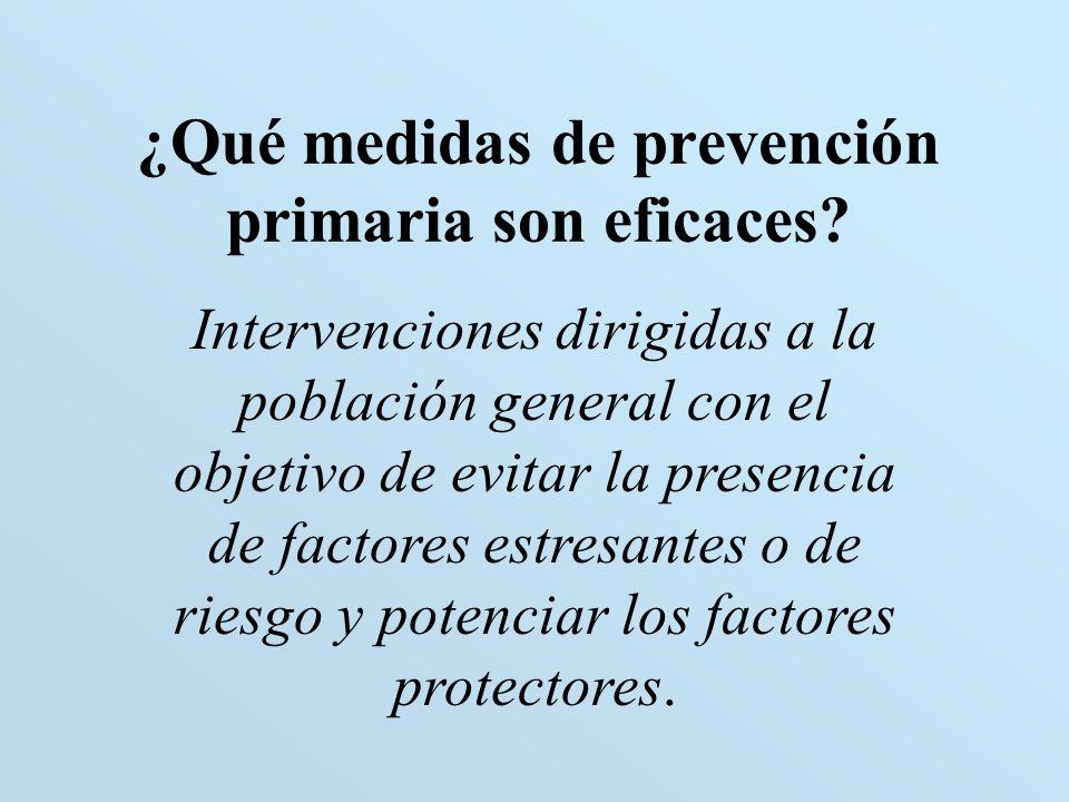¿Qué medidas de prevención primaria son eficaces