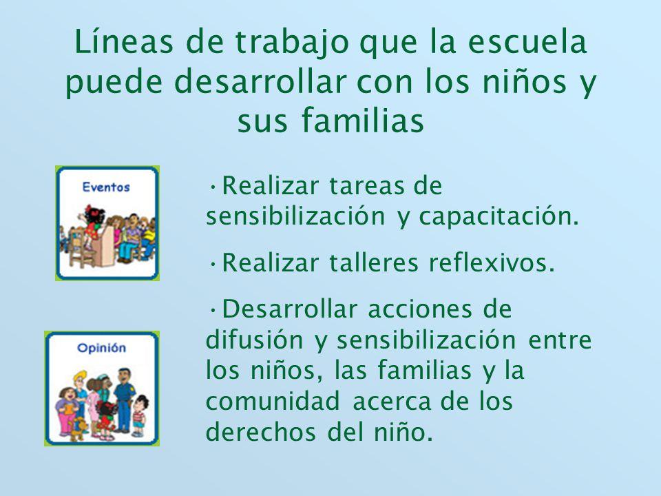 Líneas de trabajo que la escuela puede desarrollar con los niños y sus familias