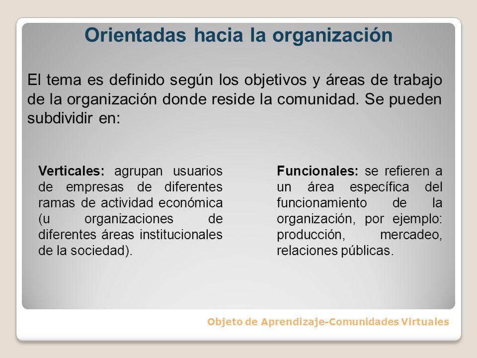 Orientadas hacia la organización