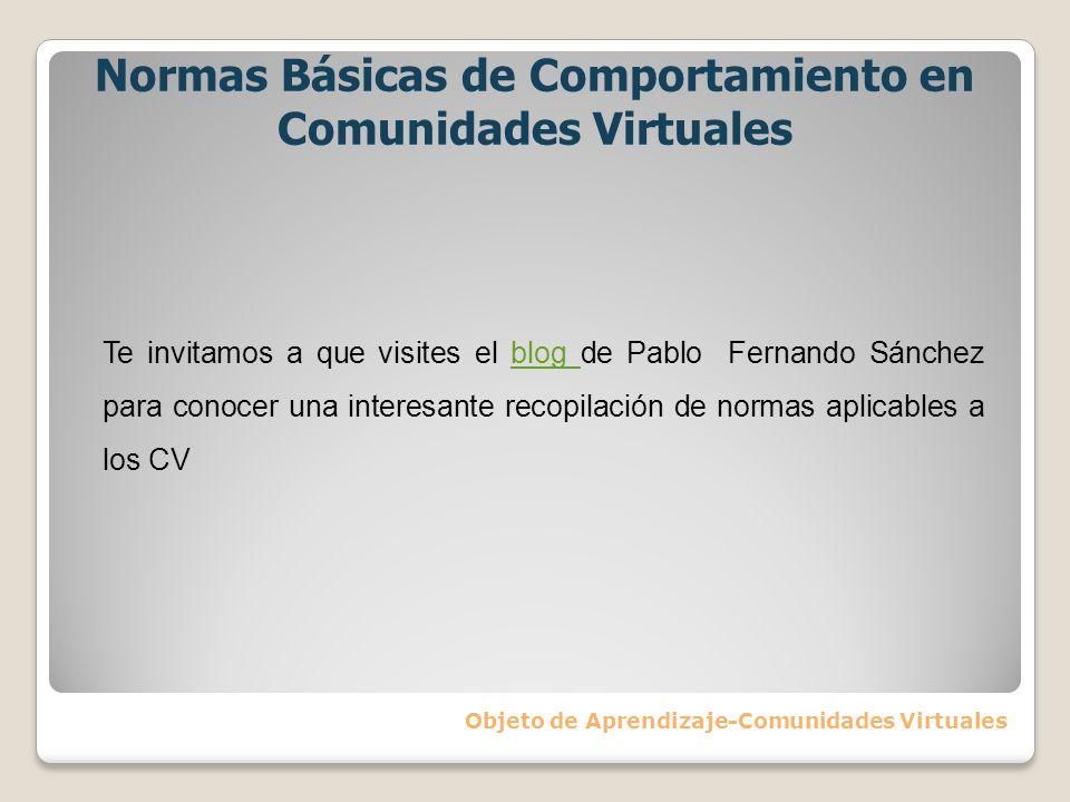 Normas Básicas de Comportamiento en Comunidades Virtuales