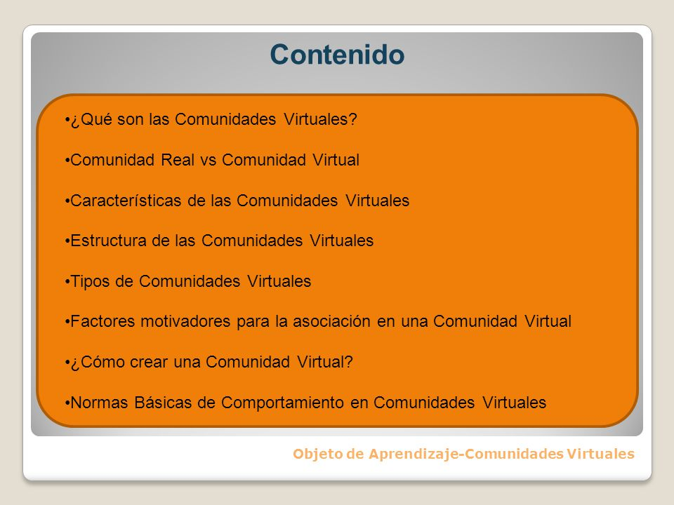 Objeto de Aprendizaje-Comunidades Virtuales