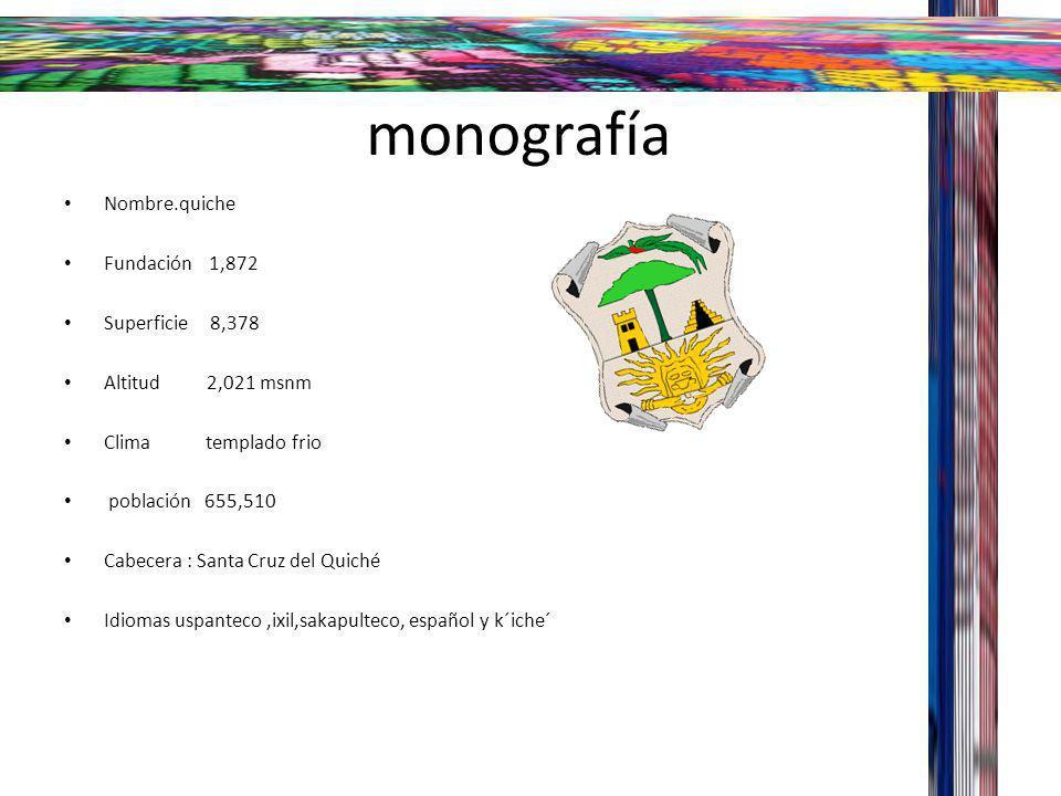 monografía Nombre.quiche Fundación 1,872 Superficie 8,378