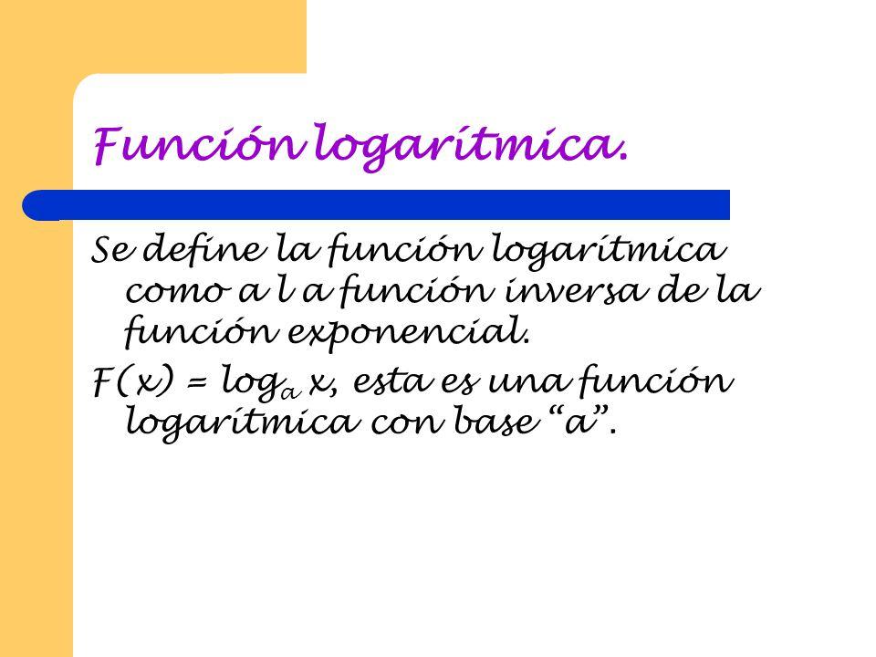 Función logarítmica. Se define la función logarítmica como a l a función inversa de la función exponencial.
