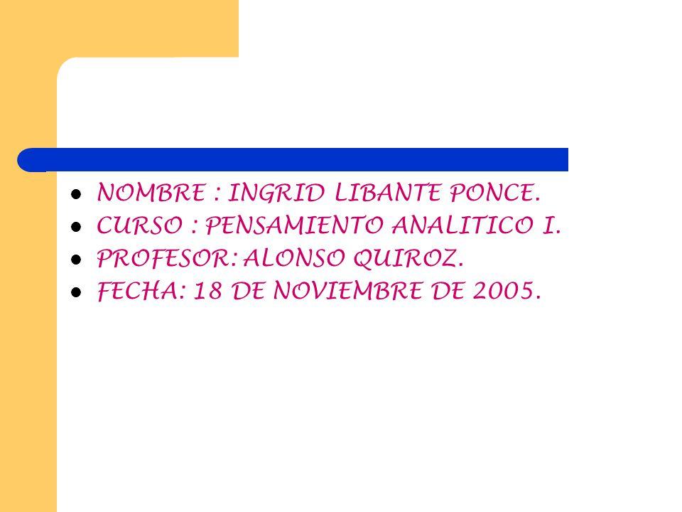 NOMBRE : INGRID LIBANTE PONCE.