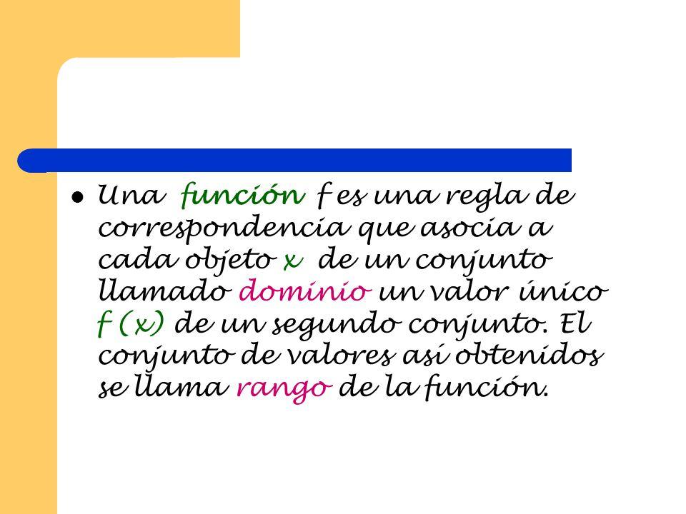 Una función f es una regla de correspondencia que asocia a cada objeto x de un conjunto llamado dominio un valor único f (x) de un segundo conjunto.