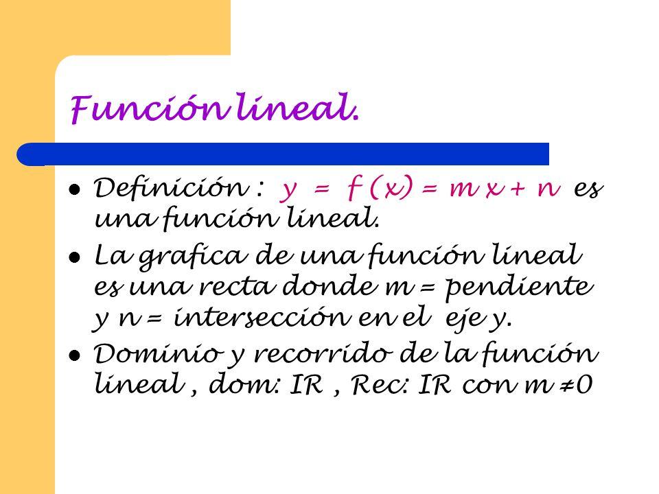 Función lineal. Definición : y = f (x) = m x + n es una función lineal.