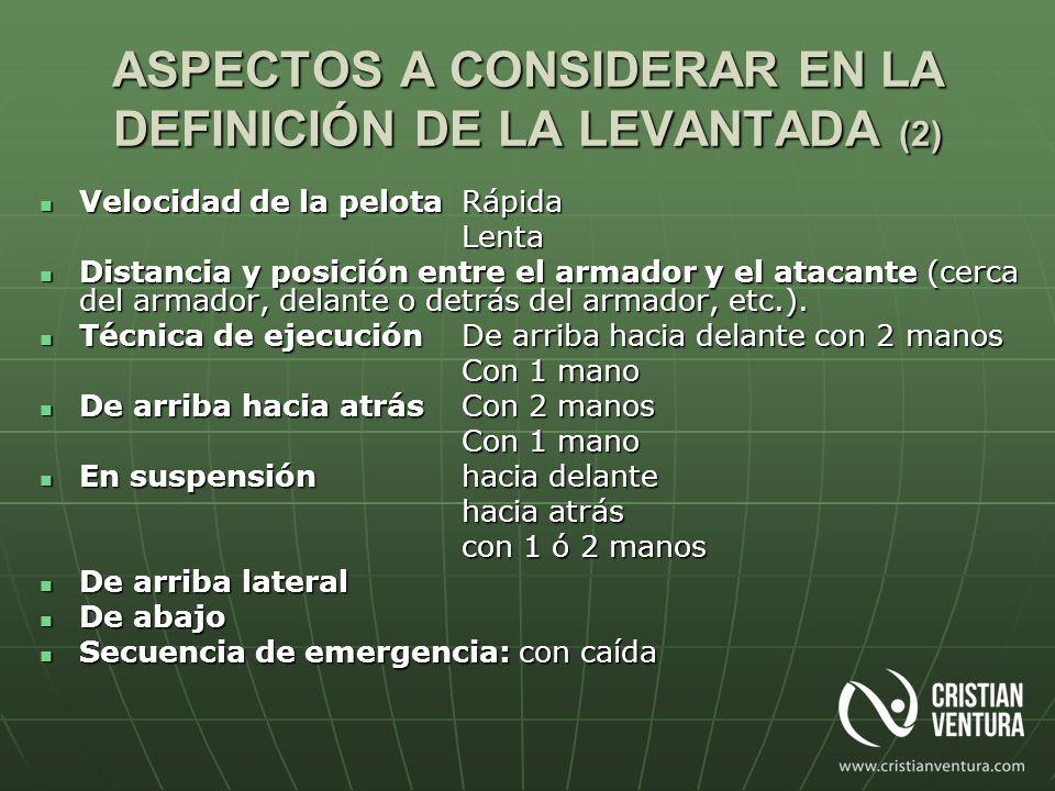 ASPECTOS A CONSIDERAR EN LA DEFINICIÓN DE LA LEVANTADA (2)