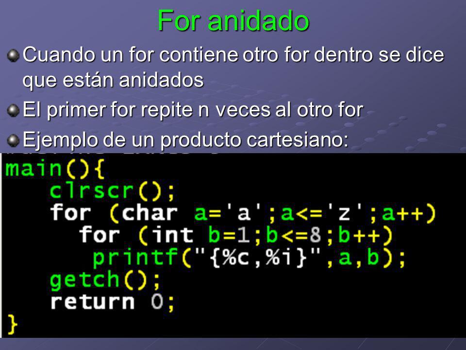 For anidado Cuando un for contiene otro for dentro se dice que están anidados. El primer for repite n veces al otro for.