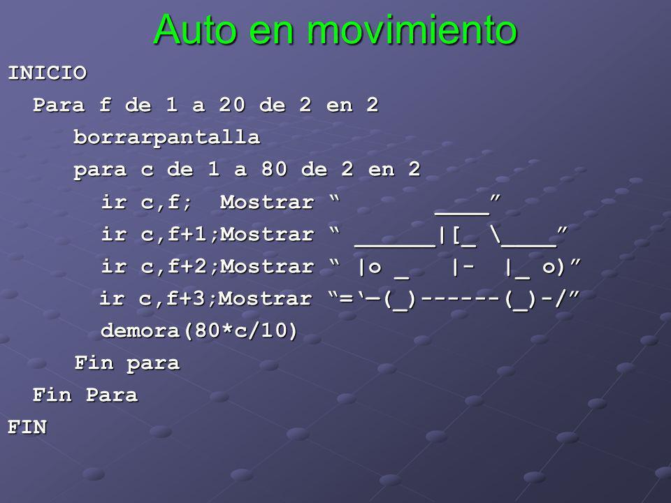 Auto en movimiento INICIO Para f de 1 a 20 de 2 en 2 borrarpantalla