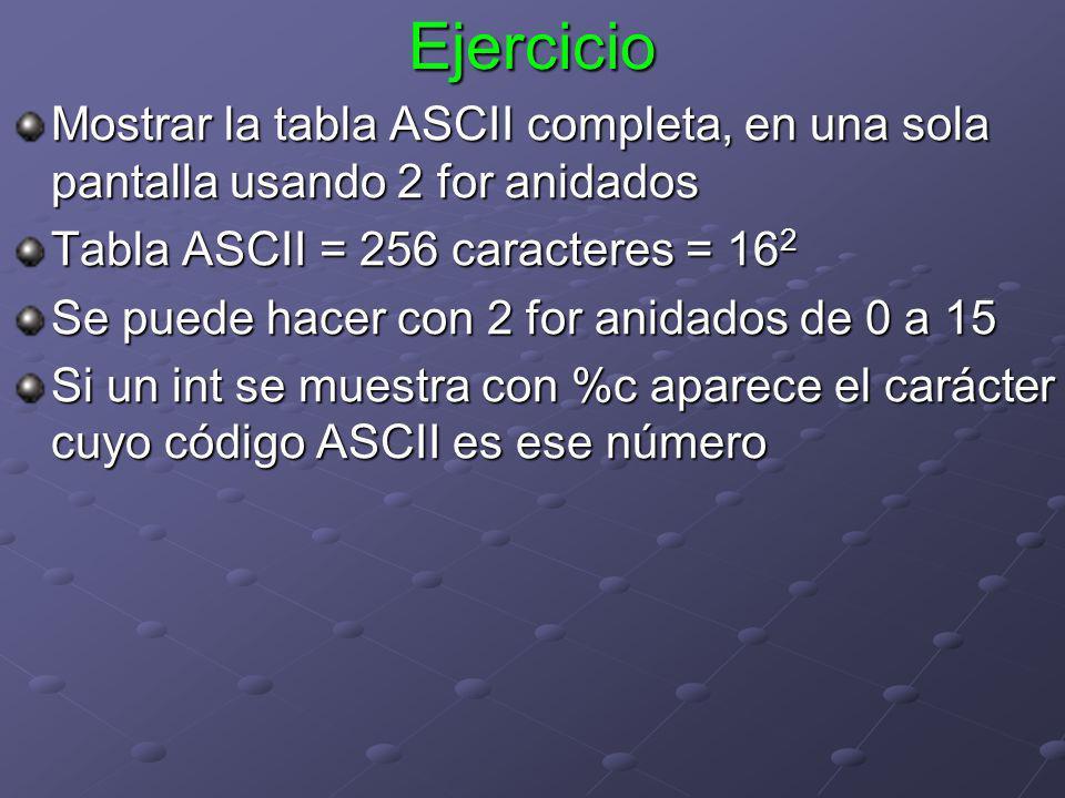 Ejercicio Mostrar la tabla ASCII completa, en una sola pantalla usando 2 for anidados. Tabla ASCII = 256 caracteres = 162.