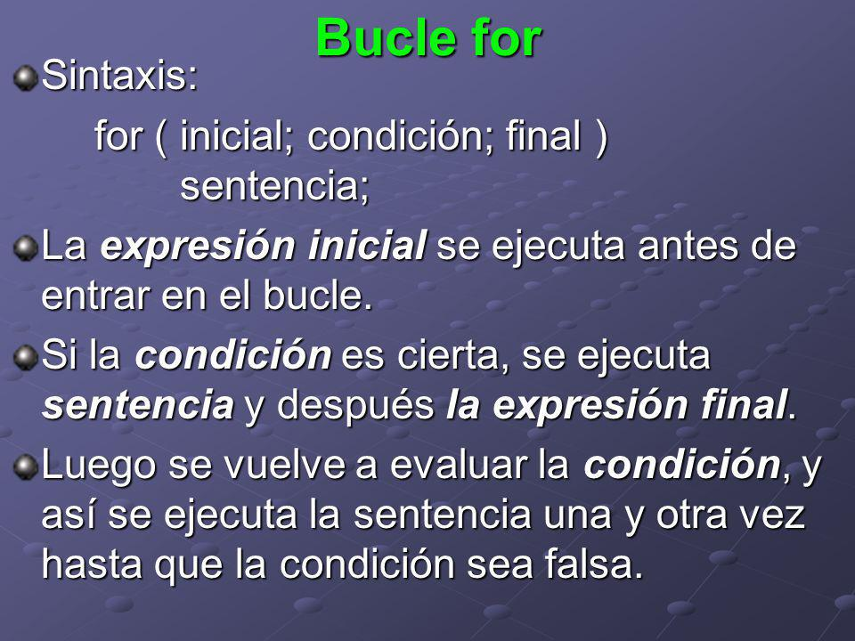 Bucle for Sintaxis: for ( inicial; condición; final ) sentencia;