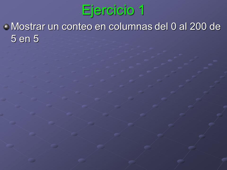 Ejercicio 1 Mostrar un conteo en columnas del 0 al 200 de 5 en 5