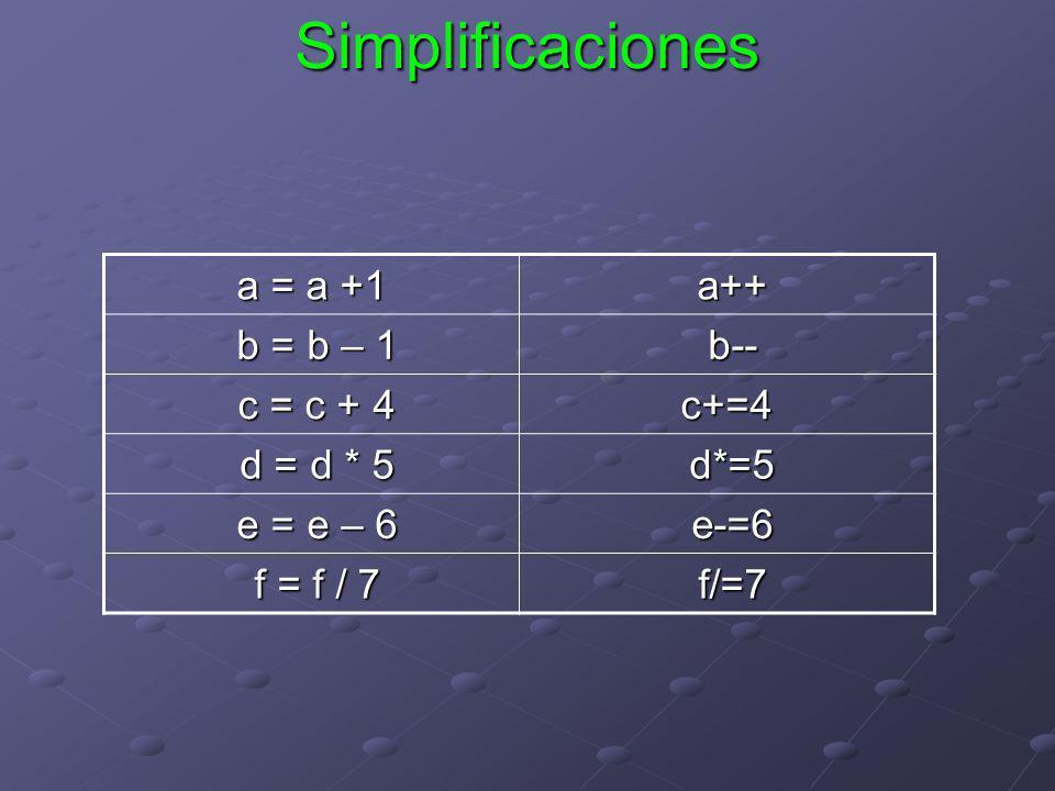 Simplificaciones a = a +1 a++ b = b – 1 b-- c = c + 4 c+=4 d = d * 5