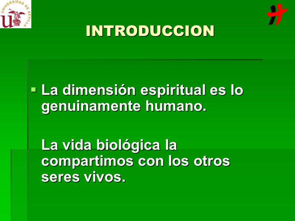 INTRODUCCION La dimensión espiritual es lo genuinamente humano.