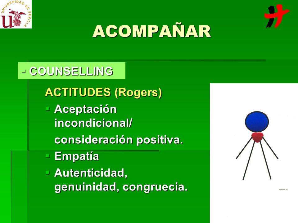 ACOMPAÑAR COUNSELLING ACTITUDES (Rogers) Aceptación incondicional/