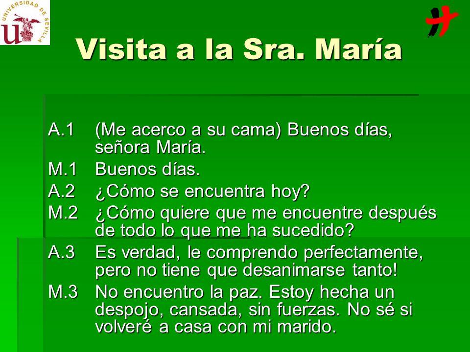 Visita a la Sra. María A.1 (Me acerco a su cama) Buenos días, señora María. M.1 Buenos días. A.2 ¿Cómo se encuentra hoy