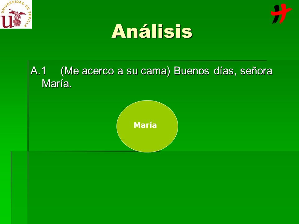 Análisis A.1 (Me acerco a su cama) Buenos días, señora María. María