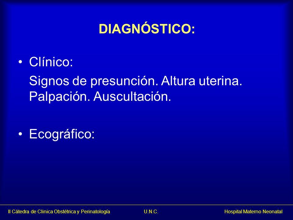 DIAGNÓSTICO: Clínico: Signos de presunción. Altura uterina. Palpación. Auscultación. Ecográfico: