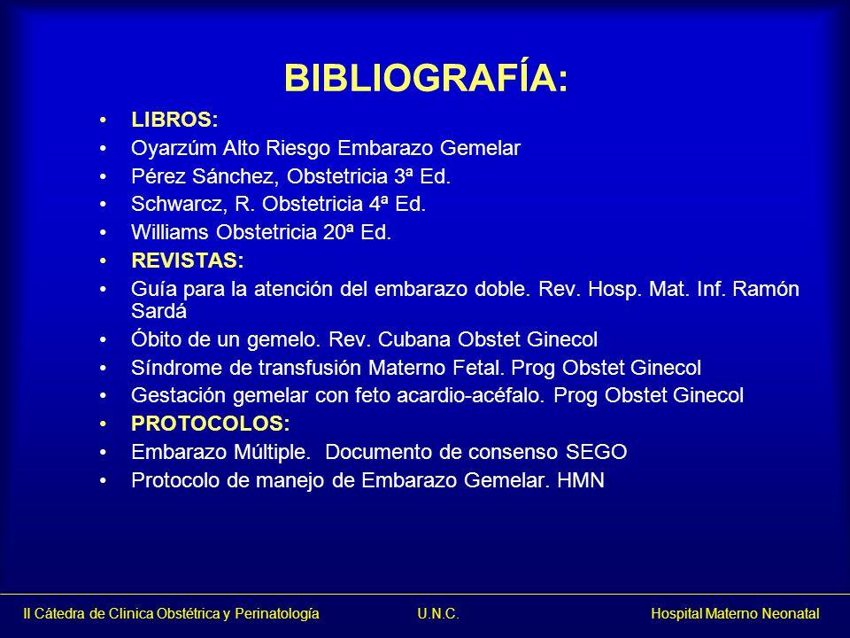 BIBLIOGRAFÍA: LIBROS: Oyarzúm Alto Riesgo Embarazo Gemelar