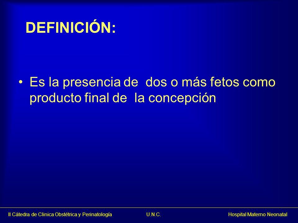 DEFINICIÓN: Es la presencia de dos o más fetos como producto final de la concepción